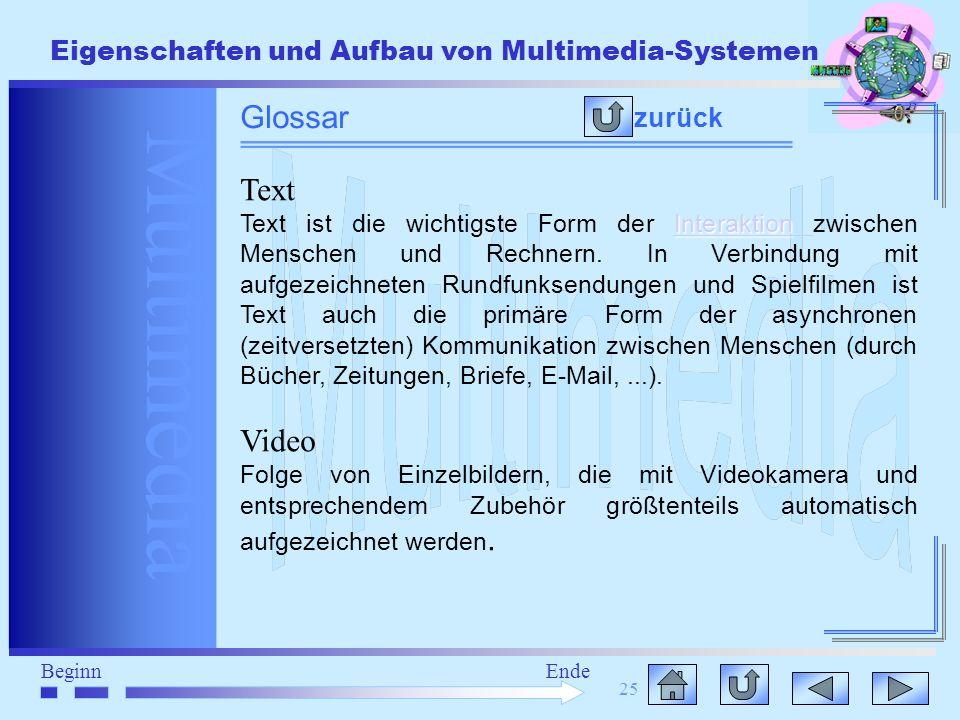 Multimedia BeginnEnde Eigenschaften und Aufbau von Multimedia-Systemen 25 zurück Glossar Text Interaktion Interaktion Text ist die wichtigste Form der