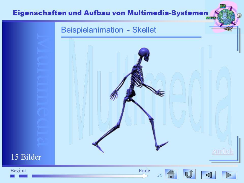 Multimedia BeginnEnde Eigenschaften und Aufbau von Multimedia-Systemen 26 Beispielanimation - Skellet zurück 15 Bilder