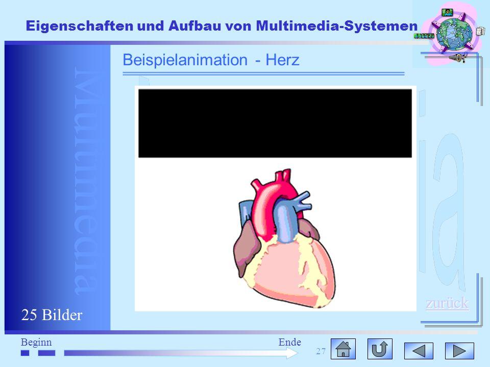 Multimedia BeginnEnde Eigenschaften und Aufbau von Multimedia-Systemen 27 Beispielanimation - Herz zurück 25 Bilder
