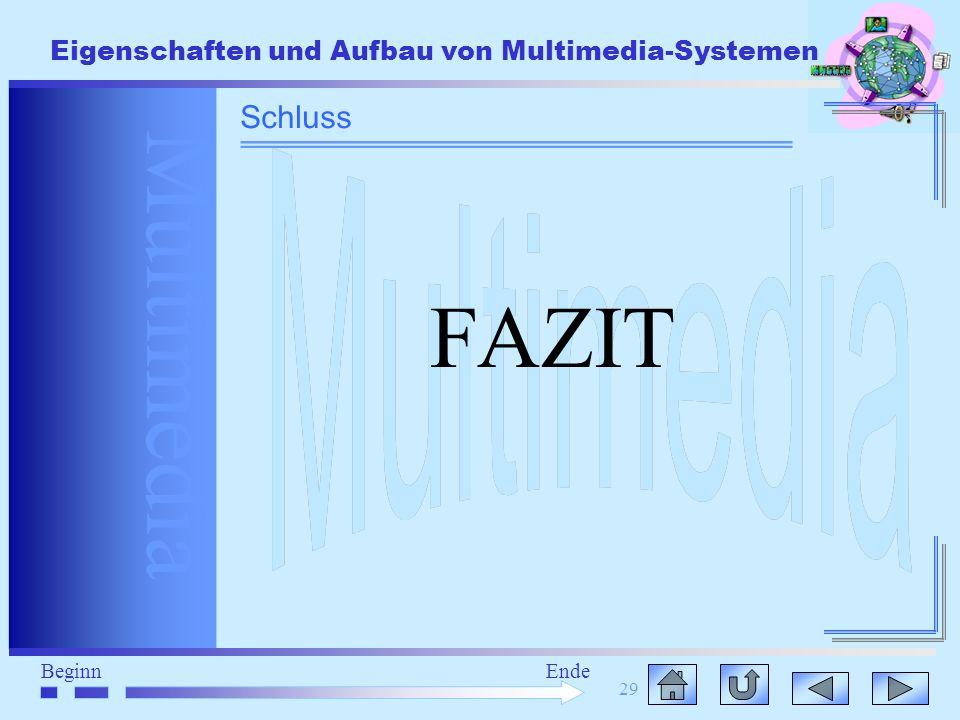 Multimedia BeginnEnde Eigenschaften und Aufbau von Multimedia-Systemen 29 FAZIT Schluss