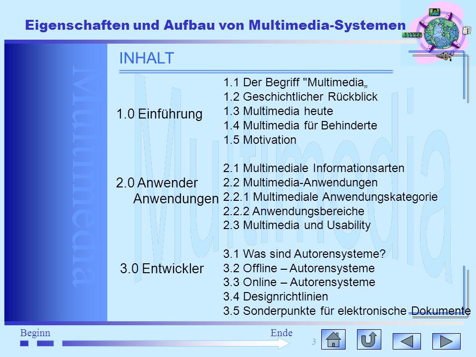 Multimedia BeginnEnde Eigenschaften und Aufbau von Multimedia-Systemen 3 INHALT 1.1 Der Begriff
