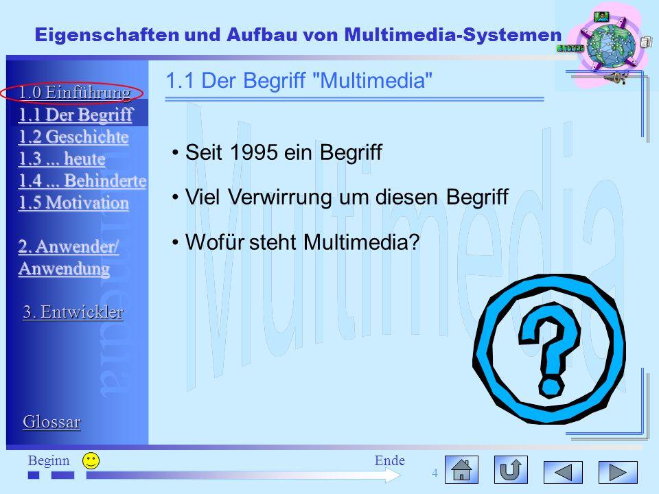 Multimedia BeginnEnde Eigenschaften und Aufbau von Multimedia-Systemen 4 Seit 1995 ein Begriff Viel Verwirrung um diesen Begriff Wofür steht Multimedi