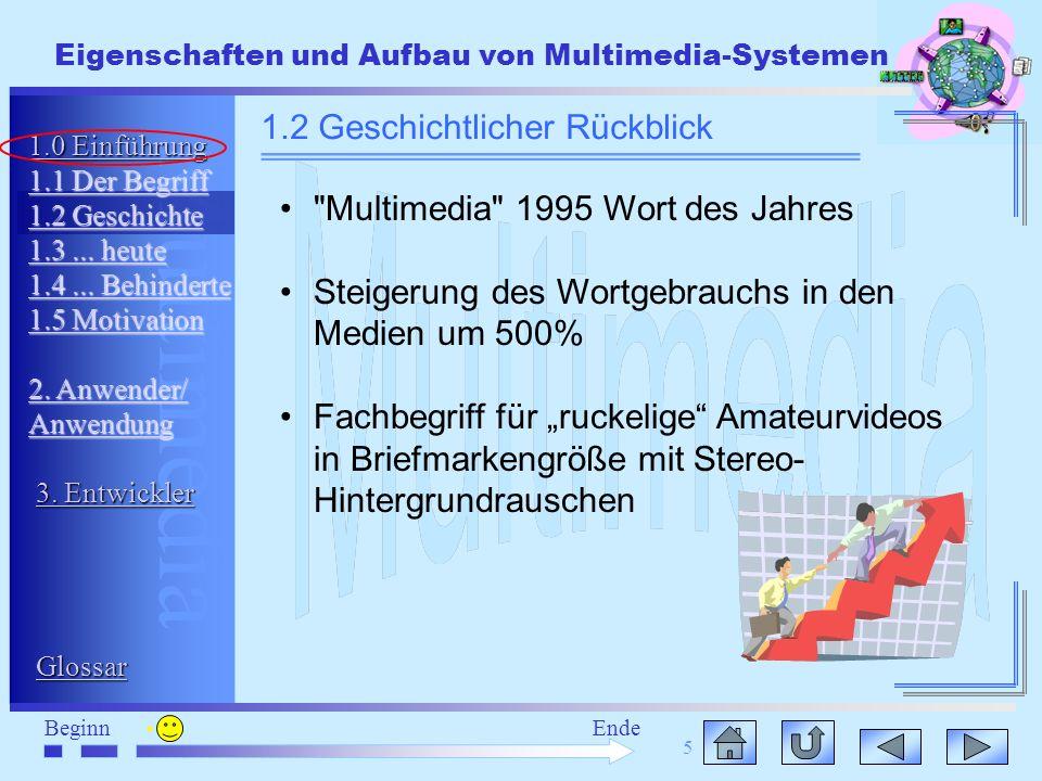 Multimedia BeginnEnde Eigenschaften und Aufbau von Multimedia-Systemen 5