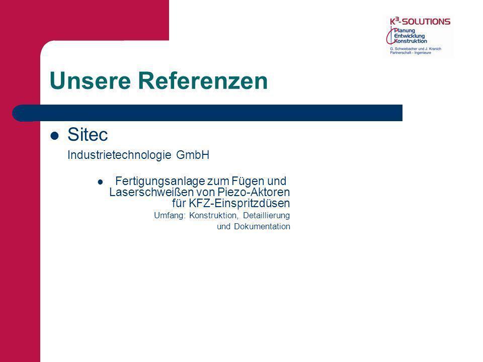 Unsere Referenzen Sitec Industrietechnologie GmbH Fertigungsanlage zum Fügen und Laserschweißen von Piezo-Aktoren für KFZ-Einspritzdüsen Umfang: Konst