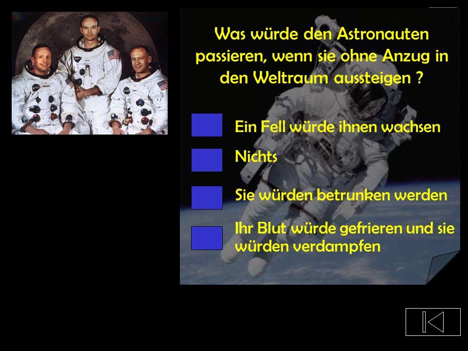 Wie schwer ist ein Astronautenanzug ? 59 kg 184 kg 1 Tonne 93 kg