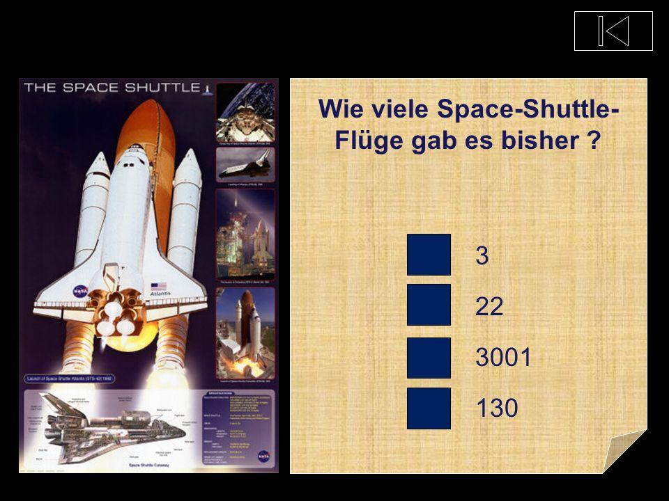 Wenn startet voraus- sichtlich der letzte Space-Shuttle ? 2080 2300 2011 2222