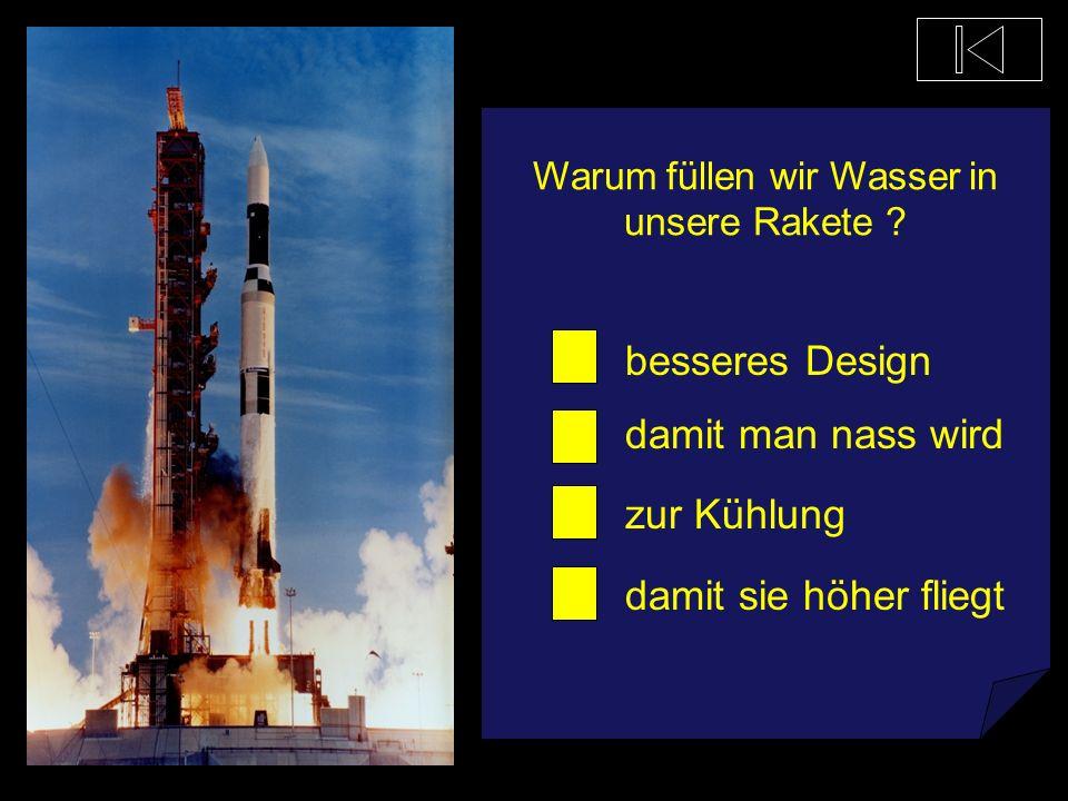 Wie groß ist eine Rakete ? wie ein Mensch wie eine Giraffe wie eine Flasche wie ein Kirchturm