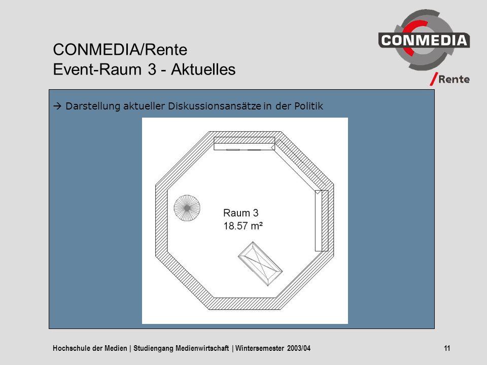Hochschule der Medien | Studiengang Medienwirtschaft | Wintersemester 2003/0411 CONMEDIA/Rente Event-Raum 3 - Aktuelles Darstellung aktueller Diskussionsansätze in der Politik