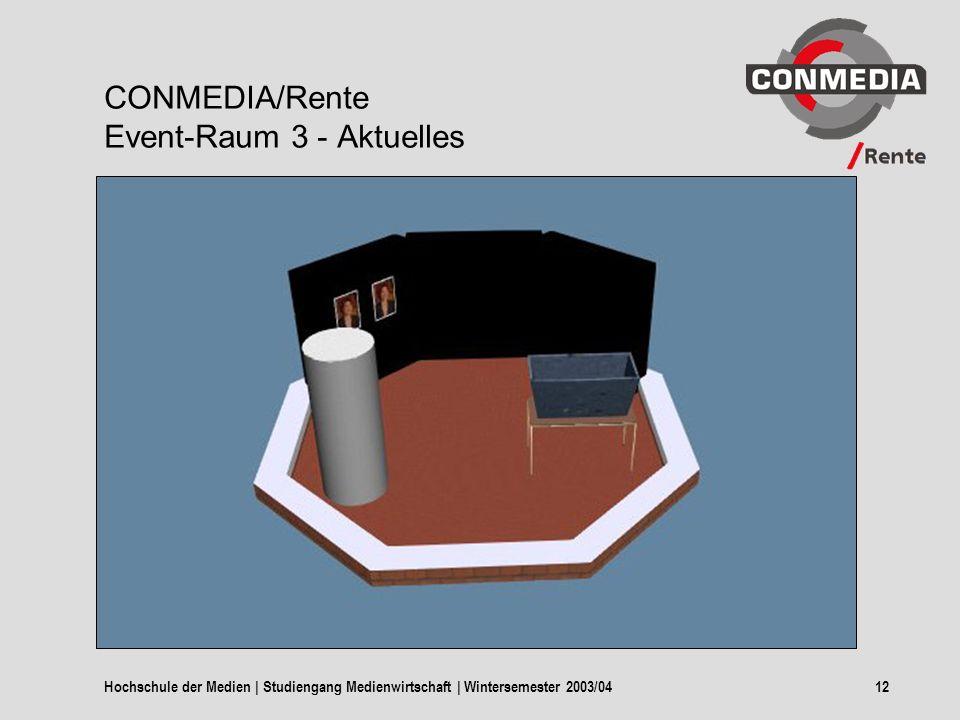 Hochschule der Medien | Studiengang Medienwirtschaft | Wintersemester 2003/0412 CONMEDIA/Rente Event-Raum 3 - Aktuelles