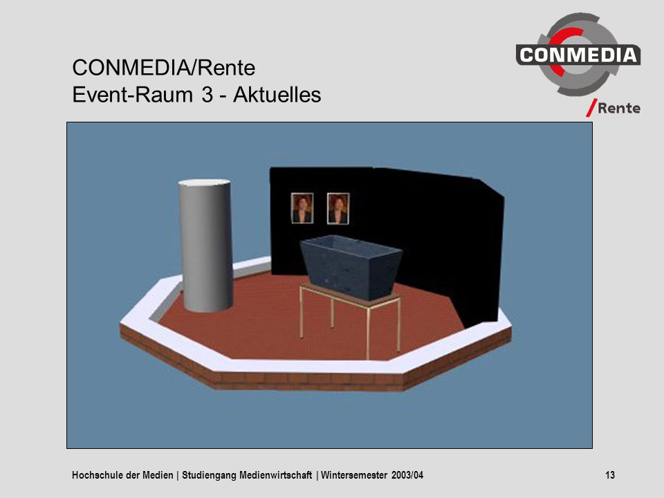Hochschule der Medien | Studiengang Medienwirtschaft | Wintersemester 2003/0413 CONMEDIA/Rente Event-Raum 3 - Aktuelles