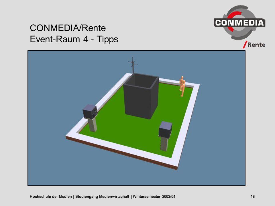 Hochschule der Medien | Studiengang Medienwirtschaft | Wintersemester 2003/0416 CONMEDIA/Rente Event-Raum 4 - Tipps