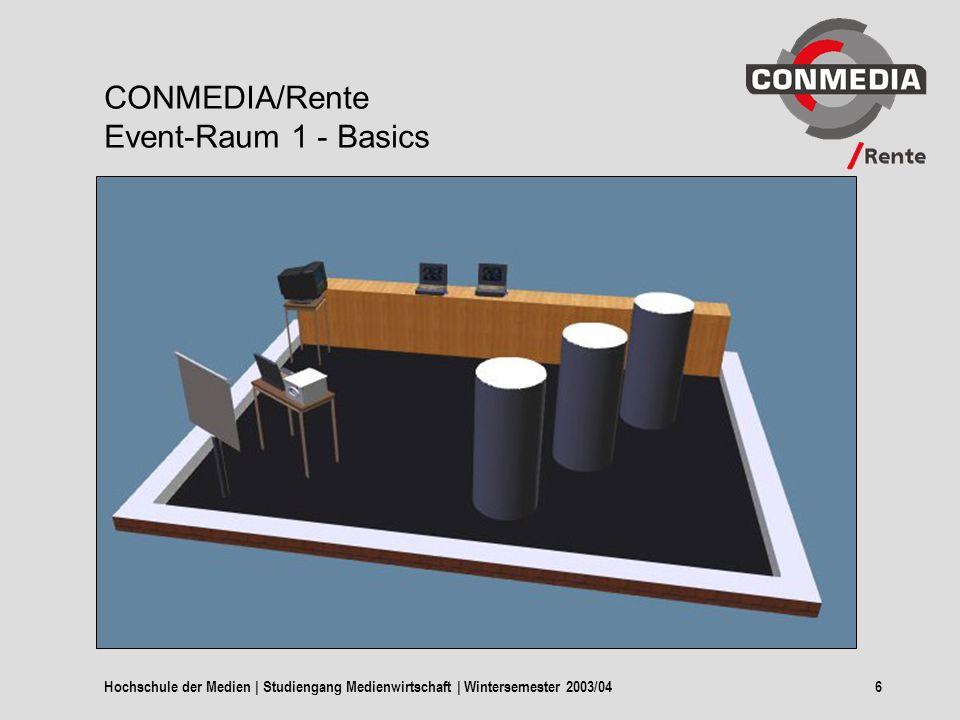 Hochschule der Medien | Studiengang Medienwirtschaft | Wintersemester 2003/046 CONMEDIA/Rente Event-Raum 1 - Basics