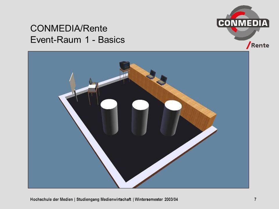 Hochschule der Medien | Studiengang Medienwirtschaft | Wintersemester 2003/047 CONMEDIA/Rente Event-Raum 1 - Basics
