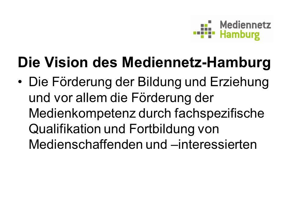 Die Vision des Mediennetz-Hamburg Die Förderung der Bildung und Erziehung und vor allem die Förderung der Medienkompetenz durch fachspezifische Qualif