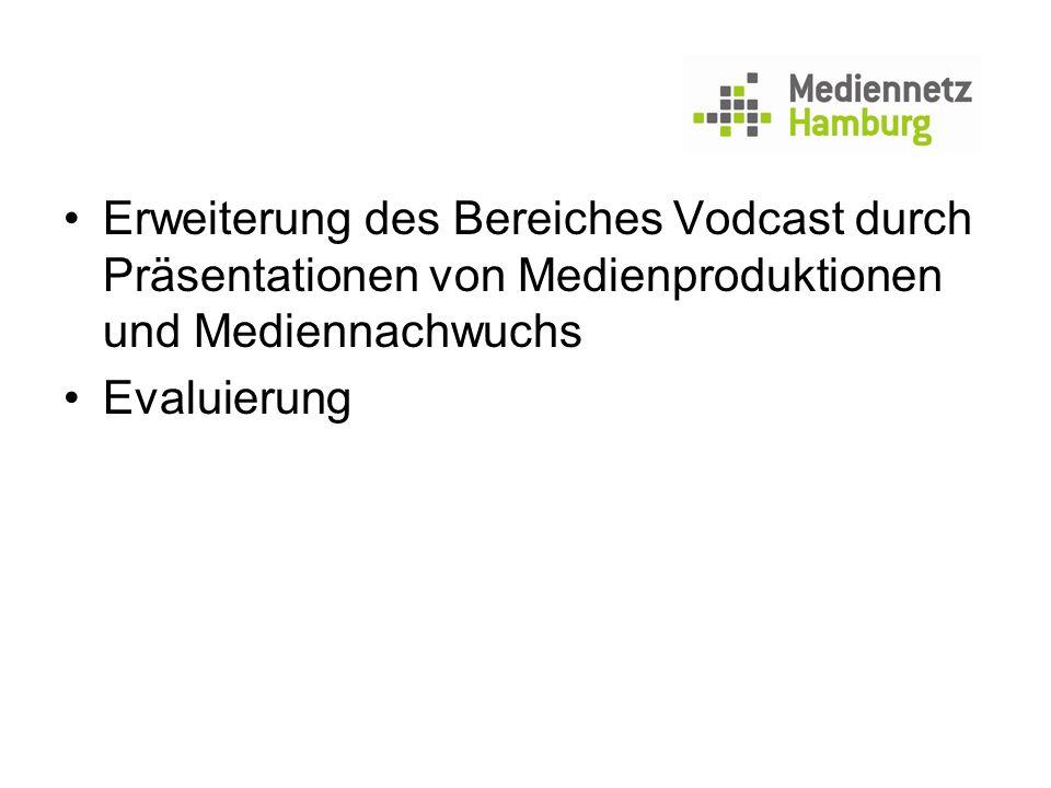 Erweiterung des Bereiches Vodcast durch Präsentationen von Medienproduktionen und Mediennachwuchs Evaluierung