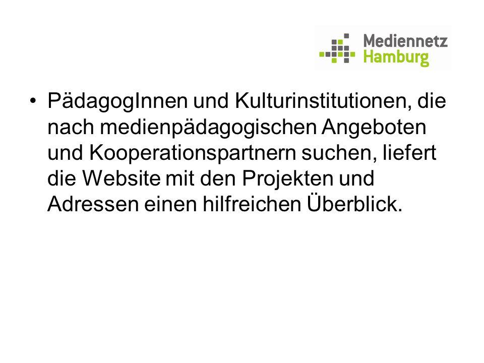 PädagogInnen und Kulturinstitutionen, die nach medienpädagogischen Angeboten und Kooperationspartnern suchen, liefert die Website mit den Projekten un