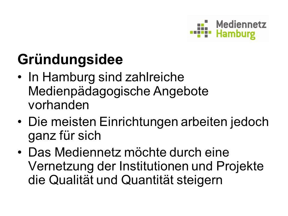 Gründungsidee In Hamburg sind zahlreiche Medienpädagogische Angebote vorhanden Die meisten Einrichtungen arbeiten jedoch ganz für sich Das Mediennetz