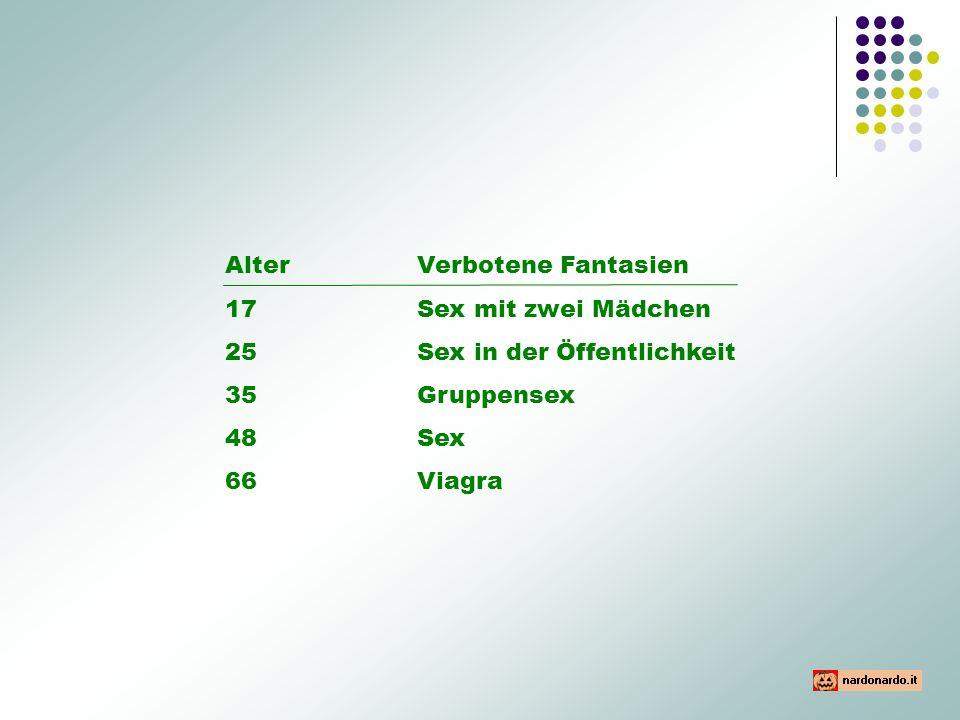 AlterVerbotene Fantasien 17 Sex mit zwei Mädchen 25Sex in der Öffentlichkeit 35Gruppensex 48Sex 66Viagra