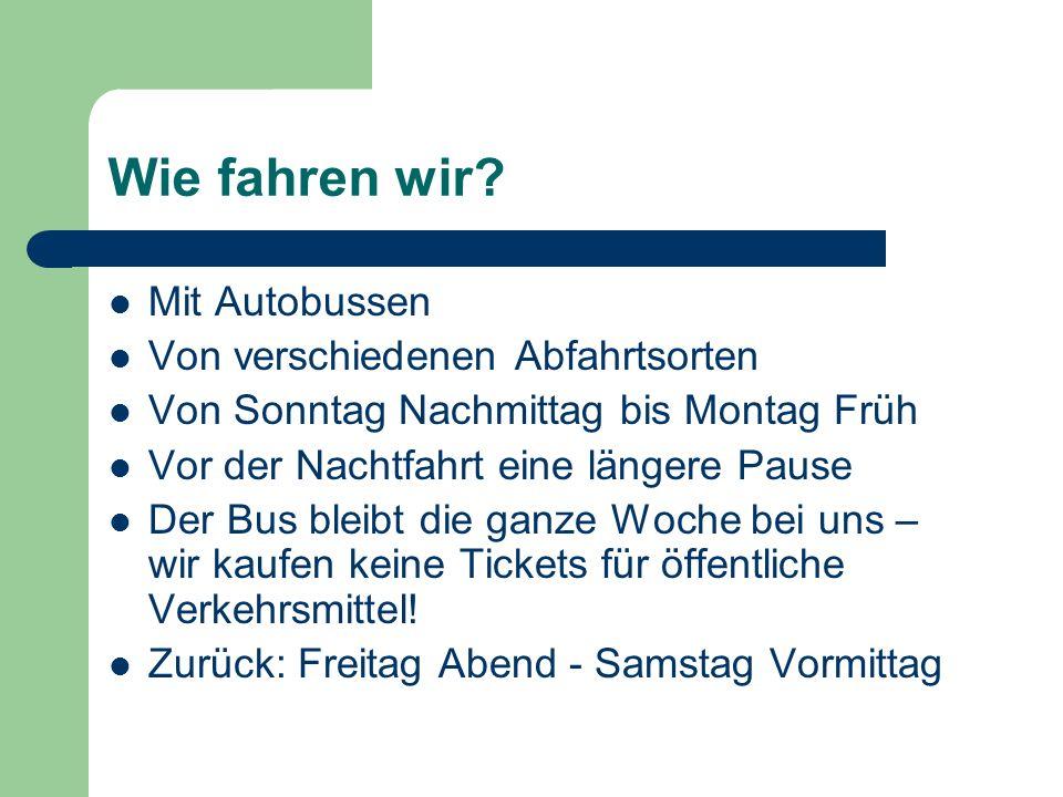 Wie fahren wir? Mit Autobussen Von verschiedenen Abfahrtsorten Von Sonntag Nachmittag bis Montag Früh Vor der Nachtfahrt eine längere Pause Der Bus bl