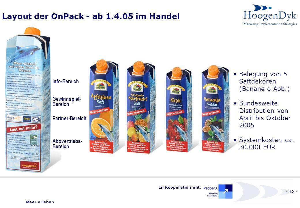 Meer erleben - 12 - In Kooperation mit: Layout der OnPack - ab 1.4.05 im Handel Belegung von 5 Saftdekoren (Banane o.Abb.) Bundesweite Distribution von April bis Oktober 2005 Systemkosten ca.