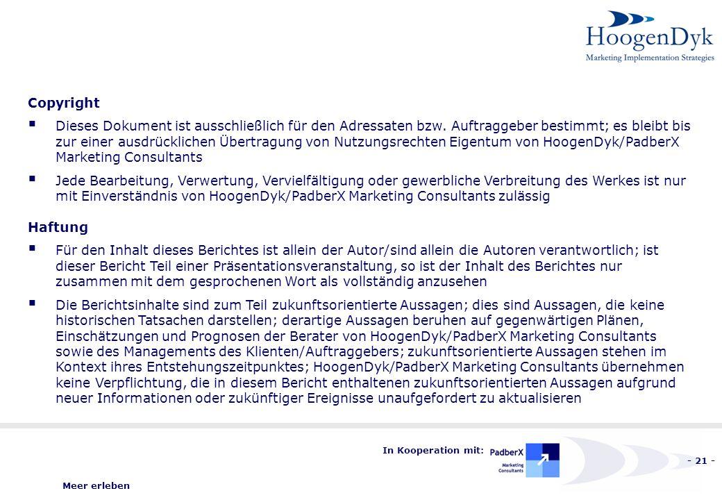 Meer erleben - 21 - In Kooperation mit: Copyright Dieses Dokument ist ausschließlich für den Adressaten bzw.
