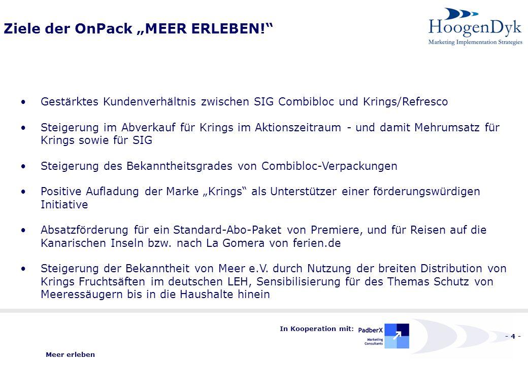 Meer erleben - 4 - In Kooperation mit: Ziele der OnPack MEER ERLEBEN.
