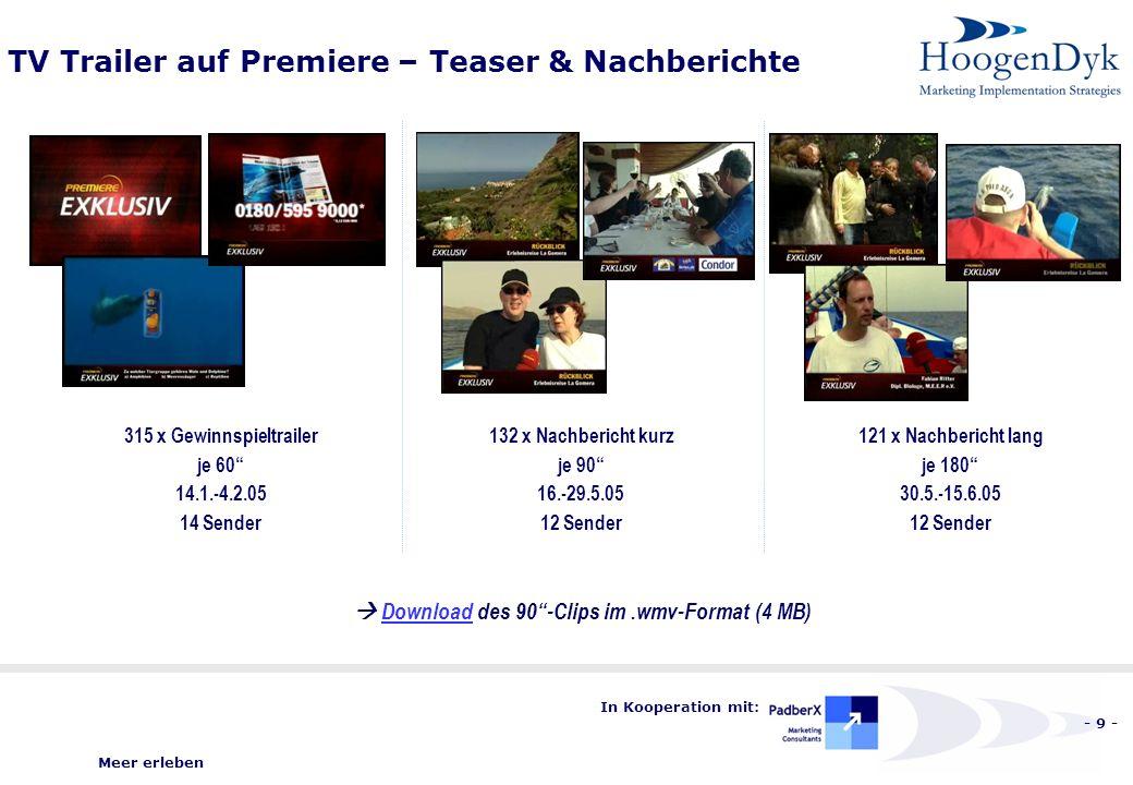 Meer erleben - 9 - In Kooperation mit: TV Trailer auf Premiere – Teaser & Nachberichte 315 x Gewinnspieltrailer je 60 14.1.-4.2.05 14 Sender 132 x Nachbericht kurz je 90 16.-29.5.05 12 Sender 121 x Nachbericht lang je 180 30.5.-15.6.05 12 Sender Download des 90-Clips im.wmv-Format (4 MB)Download
