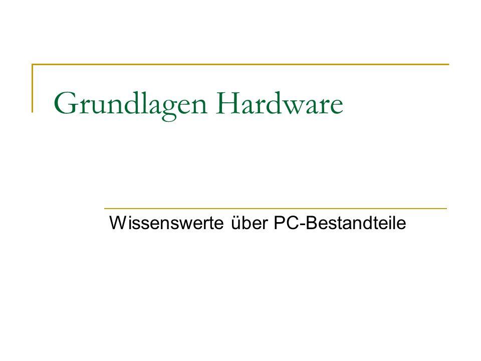 Zusammenfassung PC-Hardware Netzteil Arbeitsspeicher Prozessor (+ Lüfter) Mainboard Laufwerke (CD/DVD) Festplatten Steckkarten (Grafikkarte, Soundkarte etc.)
