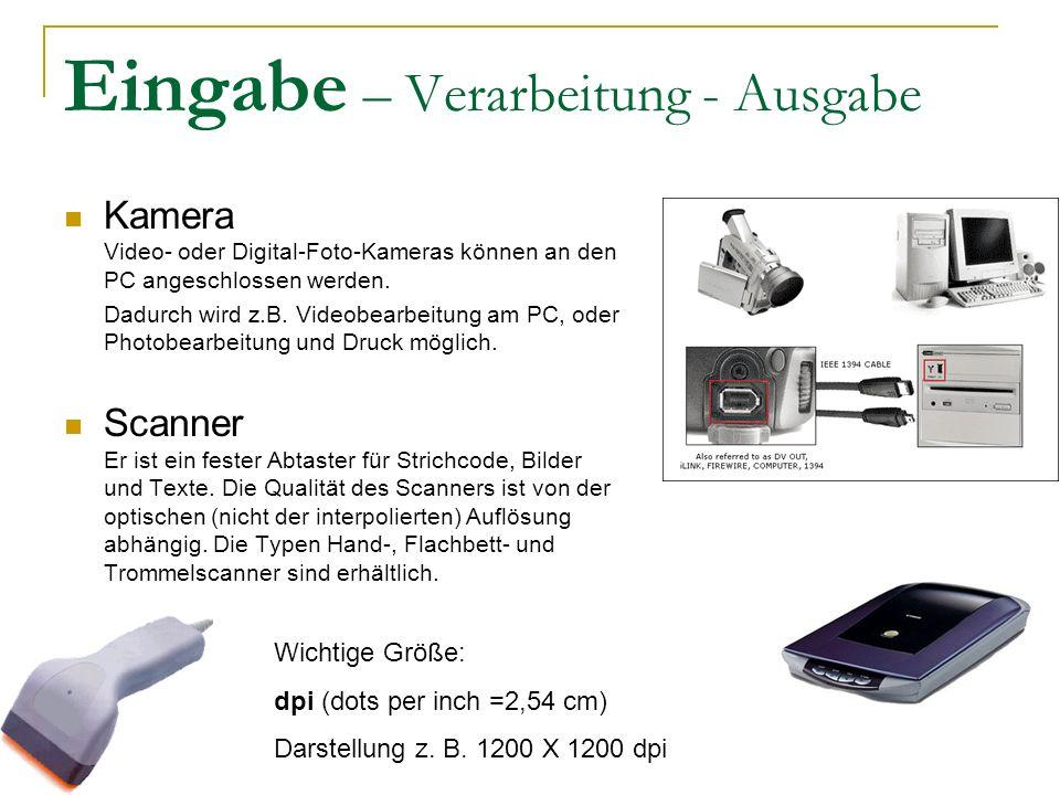 Eingabe – Verarbeitung - Ausgabe Kamera Video- oder Digital-Foto-Kameras können an den PC angeschlossen werden.