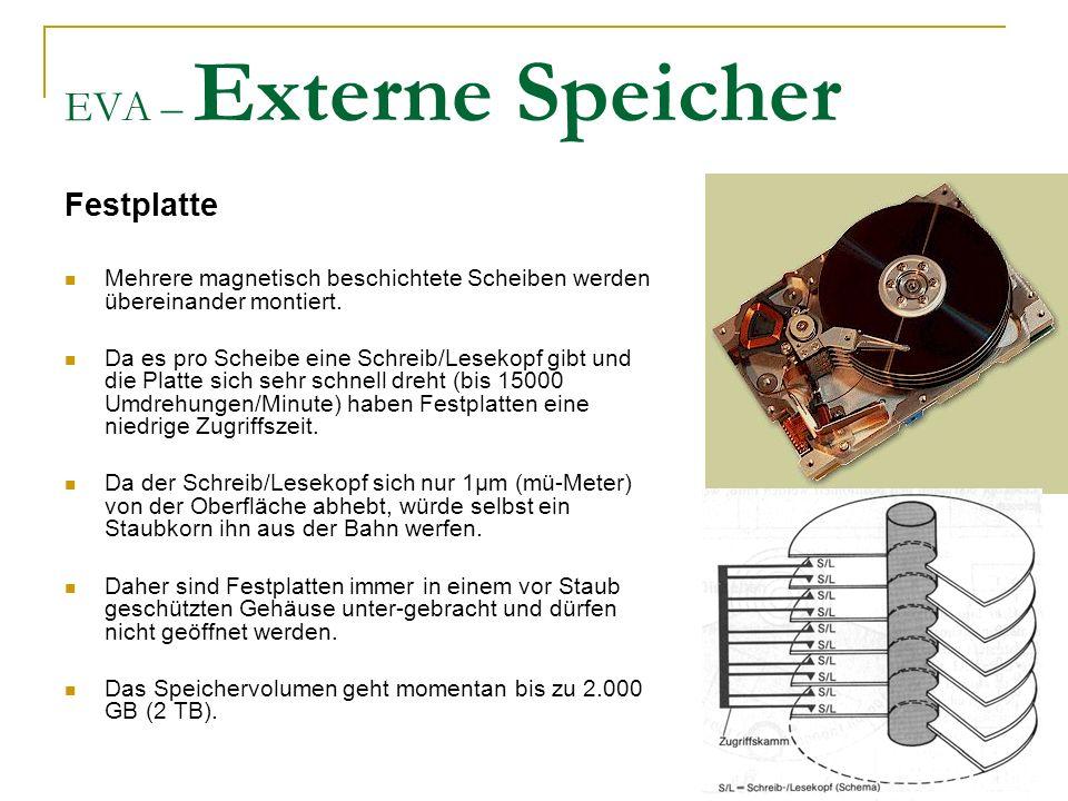 EVA – Externe Speicher Festplatte Mehrere magnetisch beschichtete Scheiben werden übereinander montiert.