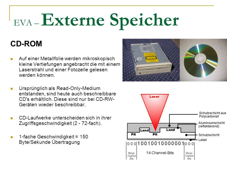 EVA – Externe Speicher CD-ROM Auf einer Metallfolie werden mikroskopisch kleine Vertiefungen angebracht die mit einem Laserstrahl und einer Fotozelle gelesen werden können.