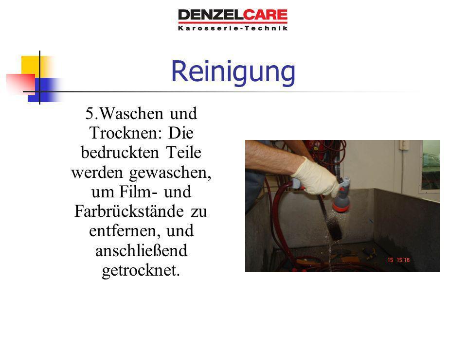 Reinigung 5.Waschen und Trocknen: Die bedruckten Teile werden gewaschen, um Film- und Farbrückstände zu entfernen, und anschließend getrocknet.