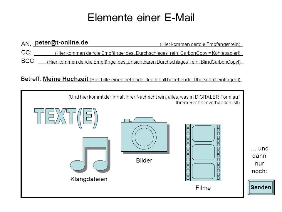 Internet Webbasierte E-Mail und/oder E-Mail-Programm Posteingangsrechner Postausgangsrechner E-Mail-Programm SendenEmpfangen SMTPPOP3 WEB-Schnittstelle HTTP E-Mail Provider z.B.