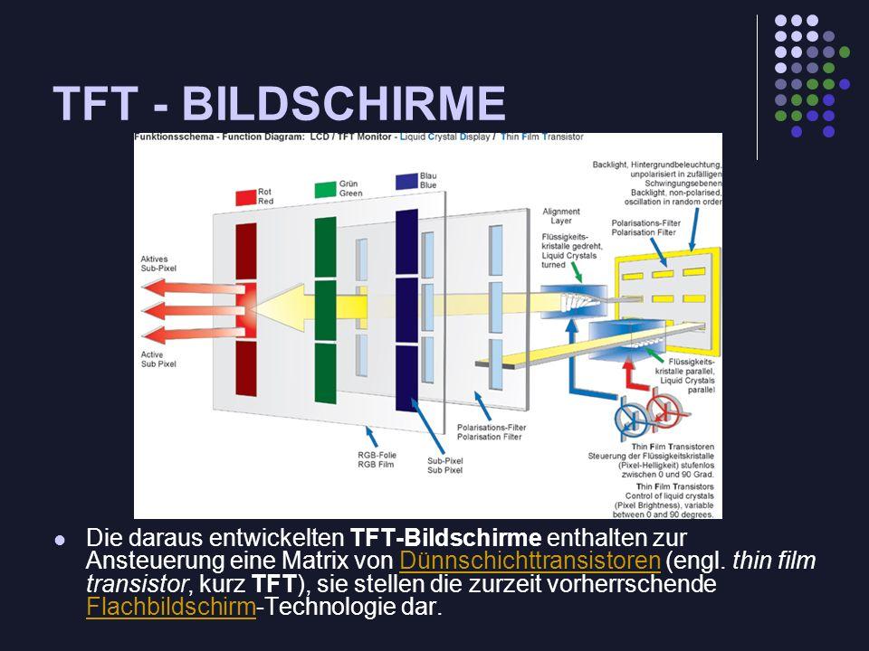 TFT - BILDSCHIRME Die daraus entwickelten TFT-Bildschirme enthalten zur Ansteuerung eine Matrix von Dünnschichttransistoren (engl. thin film transisto