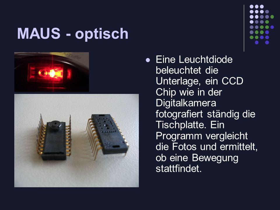 MAUS - optisch Eine Leuchtdiode beleuchtet die Unterlage, ein CCD Chip wie in der Digitalkamera fotografiert ständig die Tischplatte. Ein Programm ver