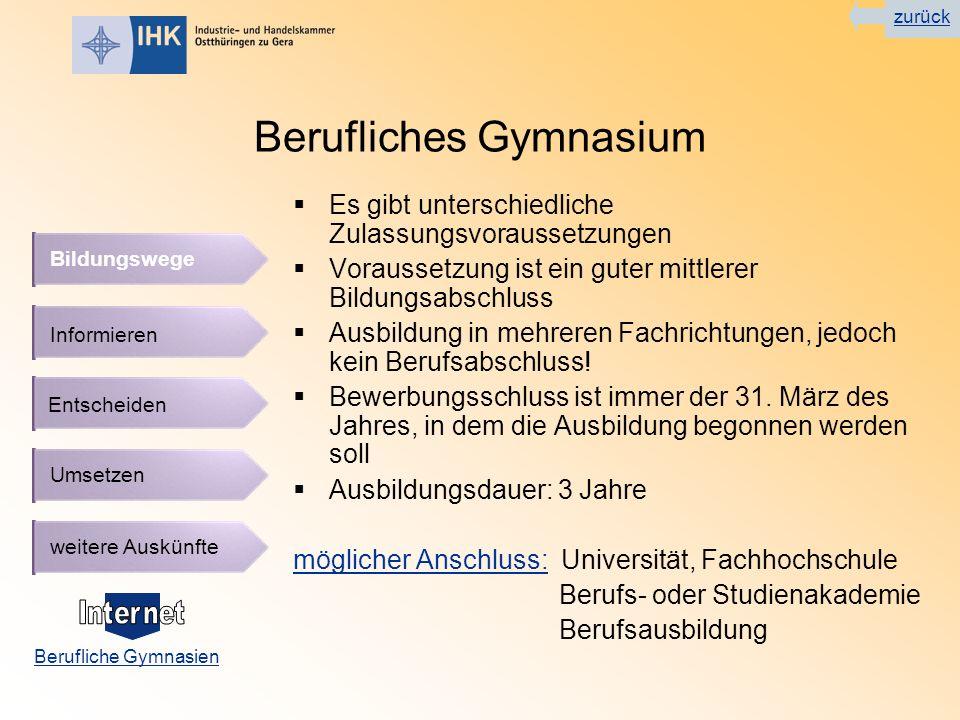 Berufliches Gymnasium Es gibt unterschiedliche Zulassungsvoraussetzungen Voraussetzung ist ein guter mittlerer Bildungsabschluss Ausbildung in mehreren Fachrichtungen, jedoch kein Berufsabschluss.