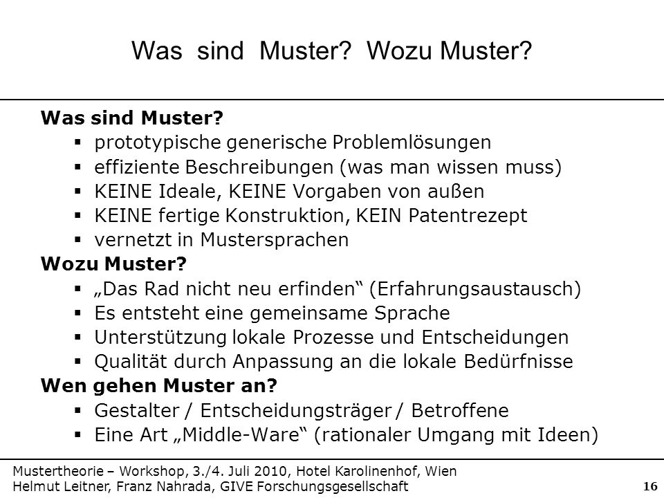 Mustertheorie – Workshop, 3./4.