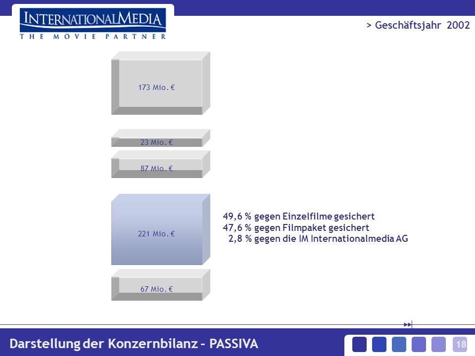 18 > Geschäftsjahr 2002 Darstellung der Konzernbilanz - PASSIVA 49,6 % gegen Einzelfilme gesichert 47,6 % gegen Filmpaket gesichert 2,8 % gegen die IM Internationalmedia AG 173 Mio.