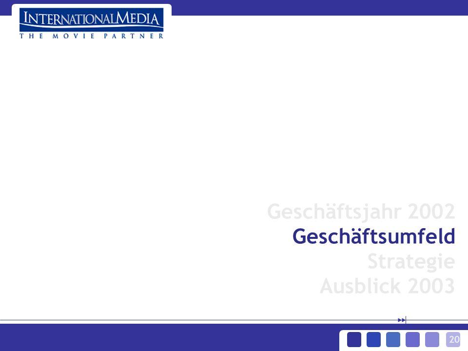 20 Geschäftsjahr 2002 Geschäftsumfeld Strategie Ausblick 2003