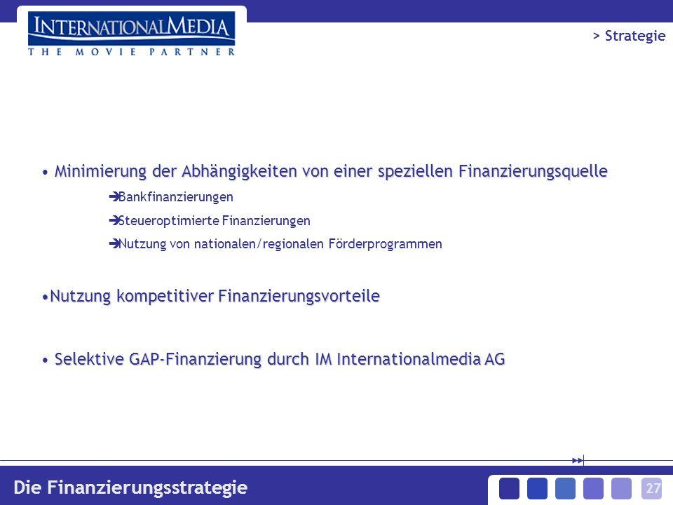 27 Die Finanzierungsstrategie Minimierung der Abhängigkeiten von einer speziellen Finanzierungsquelle Bankfinanzierungen Steueroptimierte Finanzierungen Nutzung von nationalen/regionalen Förderprogrammen Nutzung kompetitiver FinanzierungsvorteileNutzung kompetitiver Finanzierungsvorteile Selektive GAP-Finanzierung durch IM Internationalmedia AG > Strategie