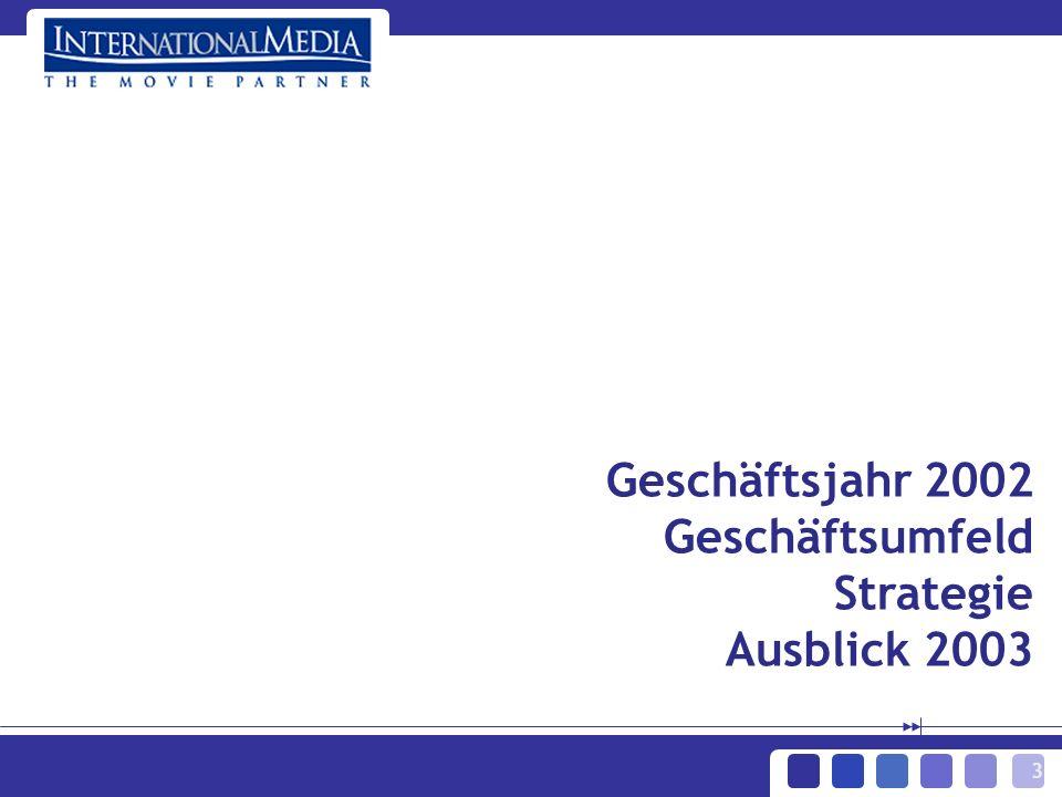3 Geschäftsjahr 2002 Geschäftsumfeld Strategie Ausblick 2003