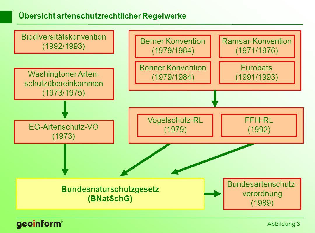 Abbildung 3 Übersicht artenschutzrechtlicher Regelwerke Washingtoner Arten- schutzübereinkommen (1973/1975) EG-Artenschutz-VO (1973) Ramsar-Konvention