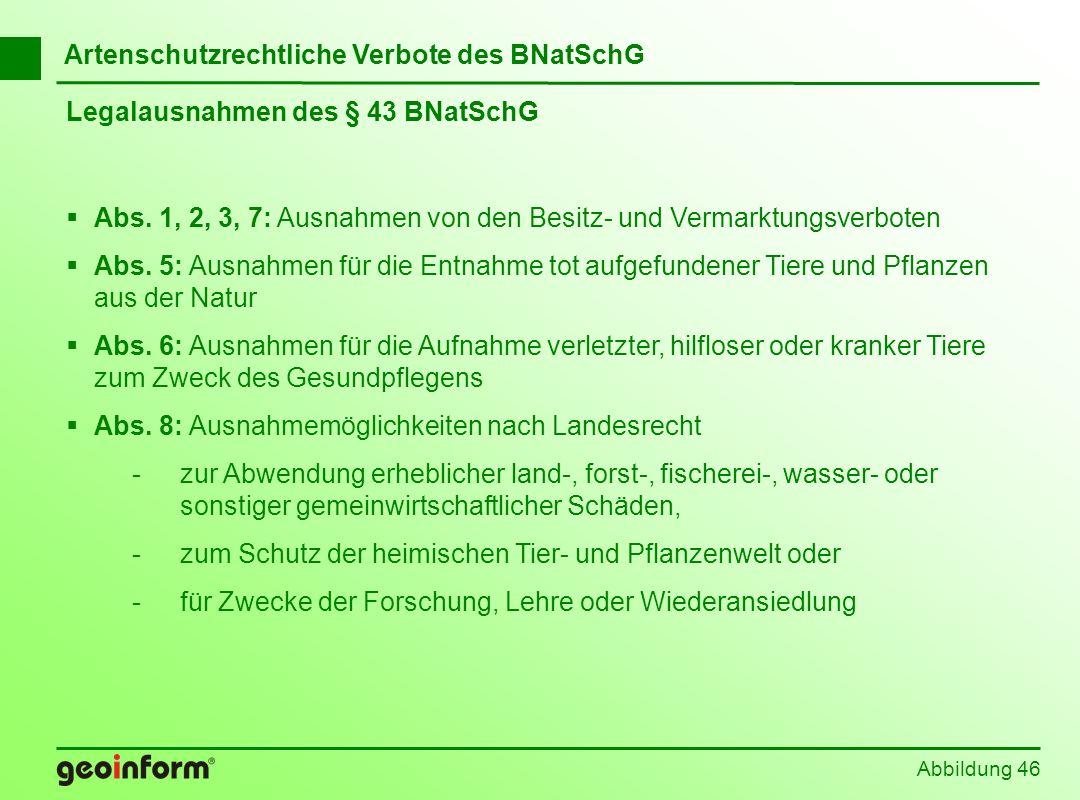 Abbildung 46 Artenschutzrechtliche Verbote des BNatSchG Legalausnahmen des § 43 BNatSchG Abs. 1, 2, 3, 7: Ausnahmen von den Besitz- und Vermarktungsve