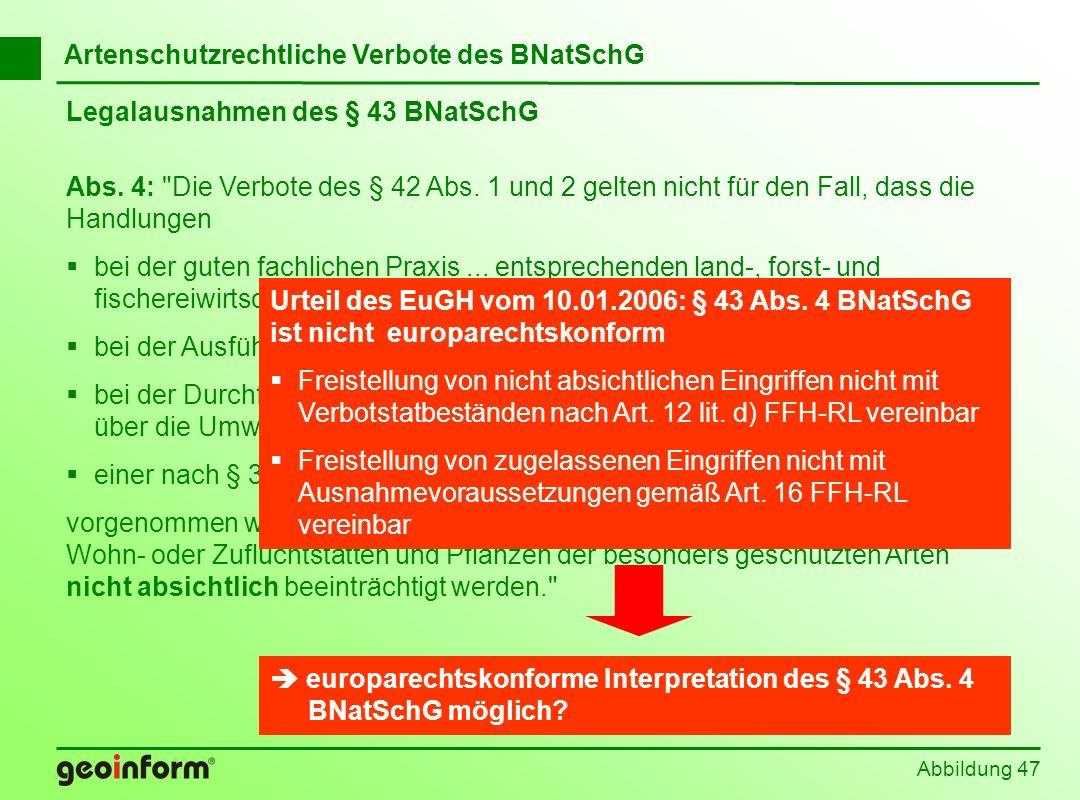 Abbildung 47 Legalausnahmen des § 43 BNatSchG Abs. 4: