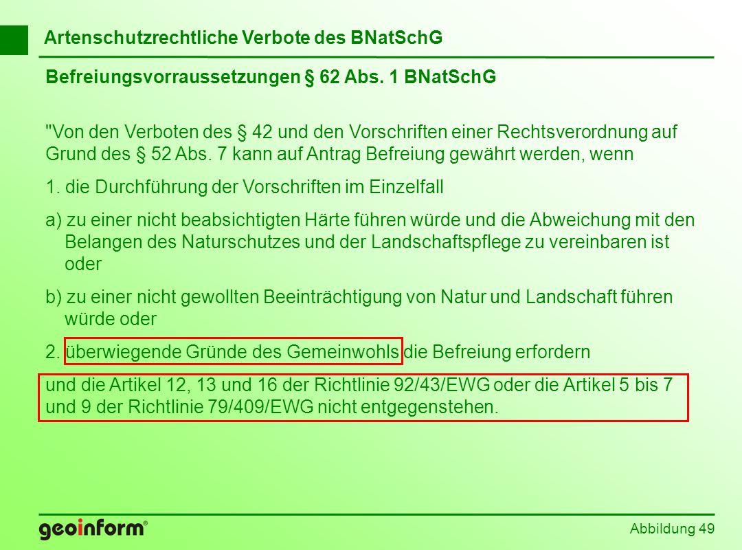 Abbildung 49 Befreiungsvorraussetzungen § 62 Abs. 1 BNatSchG