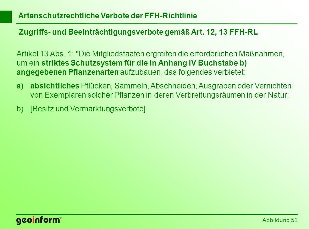 Abbildung 52 Zugriffs- und Beeinträchtigungsverbote gemäß Art. 12, 13 FFH-RL Artikel 13 Abs. 1: