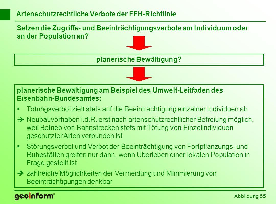 Setzen die Zugriffs- und Beeinträchtigungsverbote am Individuum oder an der Population an? Abbildung 55 planerische Bewältigung am Beispiel des Umwelt