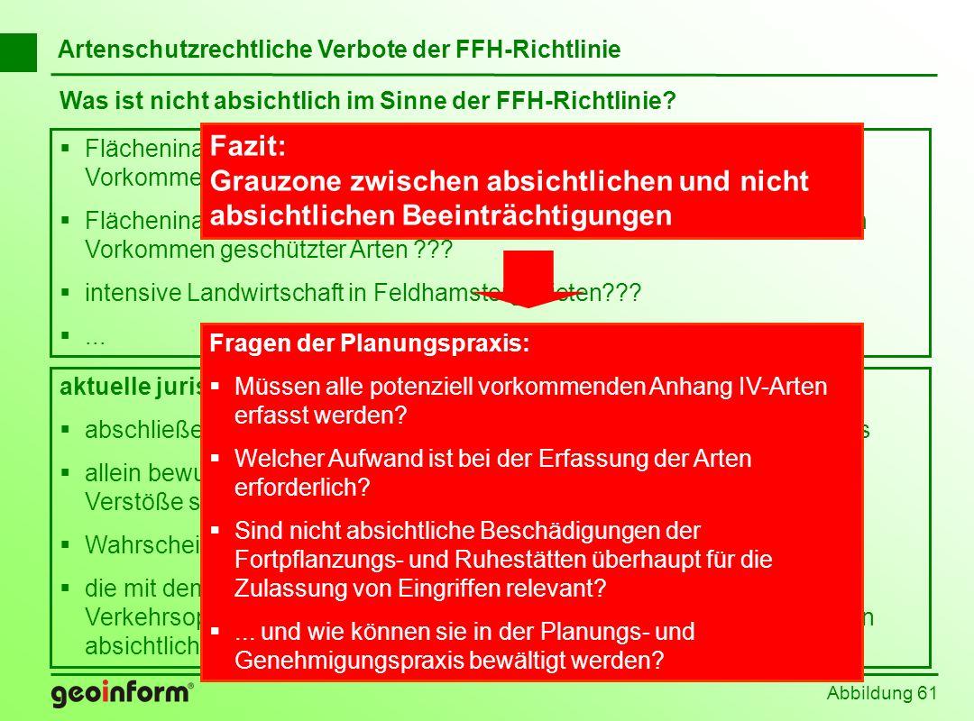 Abbildung 61 Was ist nicht absichtlich im Sinne der FFH-Richtlinie? Flächeninanspruchnahme im Rahmen eines Eingriffs bei potenziellem Vorkommen geschü