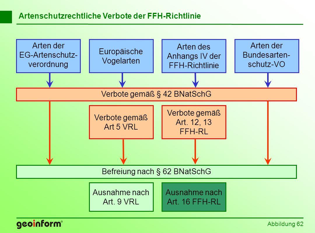 Abbildung 62 Befreiung nach § 62 BNatSchG Europäische Vogelarten Arten der EG-Artenschutz- verordnung Arten der Bundesarten- schutz-VO Arten des Anhan