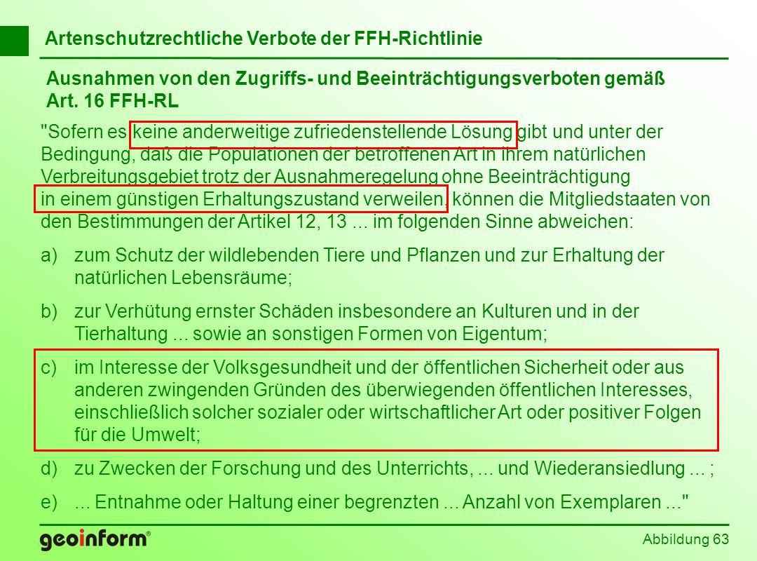 Abbildung 63 Ausnahmen von den Zugriffs- und Beeinträchtigungsverboten gemäß Art. 16 FFH-RL